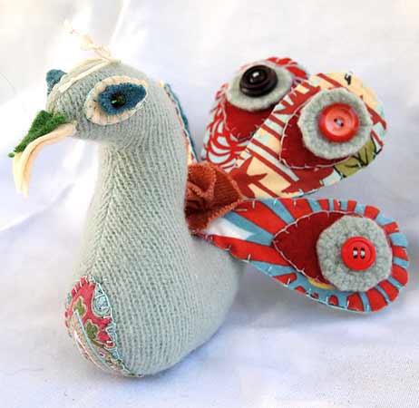Stuffed Peacock Pattern from Stash Books' Little Birds