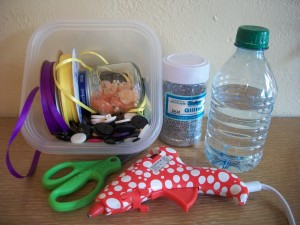Supplies for this recycled craft