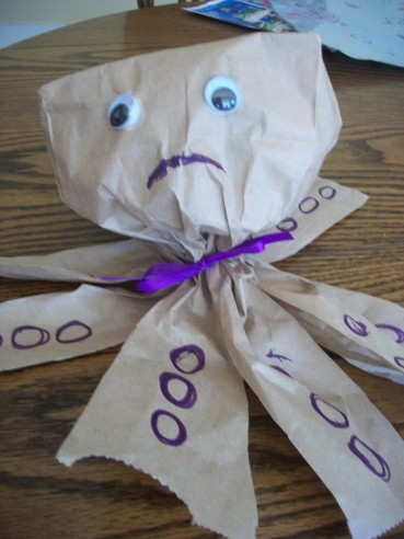 A Paper Bag Craft – Sam the Sad, Sad Octopus