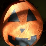 Balloon and Tissue Paper Halloween Pumpkin Craft