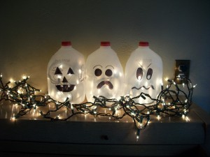Line up the milk jugs, plug in the Christmas lights, and admire your awesome Halloween Craft!