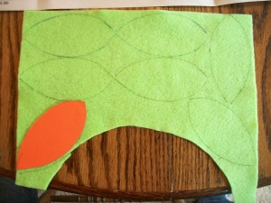 I cut out a cardstock template so my leaves would all match.