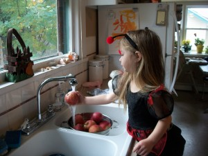 Wash your apples.  If you happen to have a ladybug around, it makes this part more fun.  ;-)
