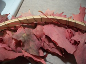 The back of your autumn leaf wreath will look like this as you work your way around it.