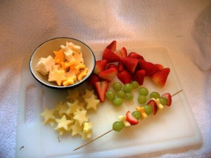 Alternate fruit and cheese on your skewer for kebabs that kids love to eat.