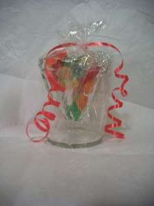 Wrap each sundae glass with plastic cling wrap, and gather at the top with a ribbon.