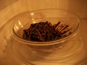Melt chocolate chips in the microwave in 20-second increments, pulling them out and stirring them before continuing to heat.