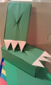 Your Finished Dinosaur Feet Tissue Box Craft