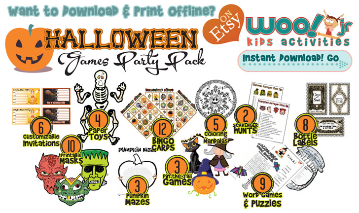 Download and print 10 Halloween party games, activities and customizable invitations!