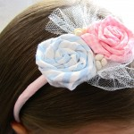 Spring Fabric Flower Rosette Headband Tutorial
