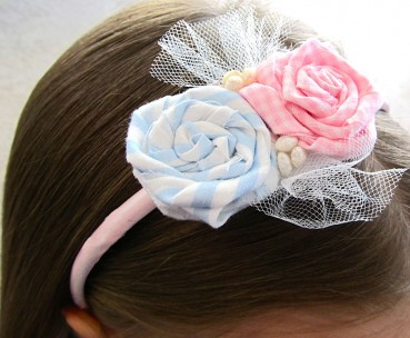 Spring Fabric Flower Rosette Headband Tutorial