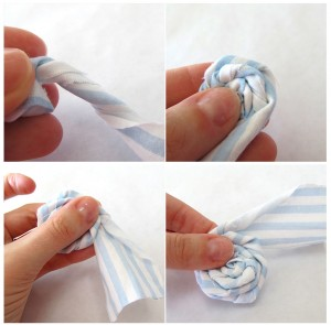 As you roll your strip, you want to twist the fabric like in the photos above. Twist an inch or so, and roll it up, pinching firmly to hold it together. When you get to the end, leave about an inch or so of fabric loose.