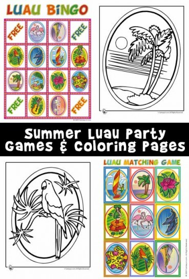 Summer Luau Party Bingo, Matching Game, & Coloring Pages