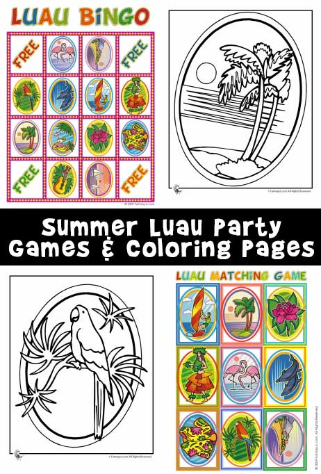 Luau Bingo, Matching Game, & Coloring Pages