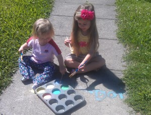 Grab a couple of craft paint brushes, and let the kids go to town with their homemade sidewalk paint.