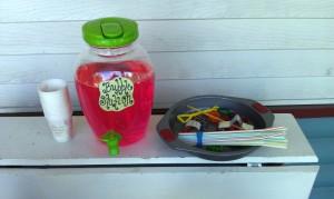 Bubble station supplies.