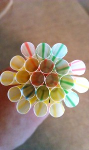 Gather your straws into a tight circle.