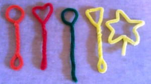 We made pipe cleaner bubble wands in a variety of shapes.