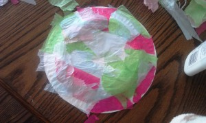 Let your kiddos glue tissue paper to the plate. I went over the top with a little more glue and the paintbrush to make sure the edges would stay down.