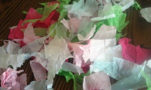 Start by tearing up different colored tissue paper into small pieces. An inch or so is a pretty good size.