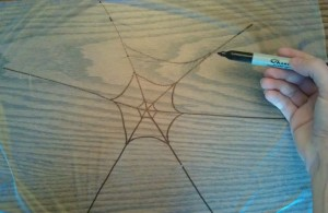Lay out a piece of plastic wrap and draw a spider web on it with your marker.