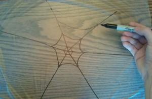 Glitter Spider Web Craft Step 1 300x195 Glitter and Glue Spiderweb Kids Craft for Halloween
