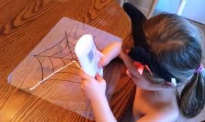 Glue and Glitter Spider Web Craft 300x179 Glitter and Glue Spiderweb Kids Craft for Halloween
