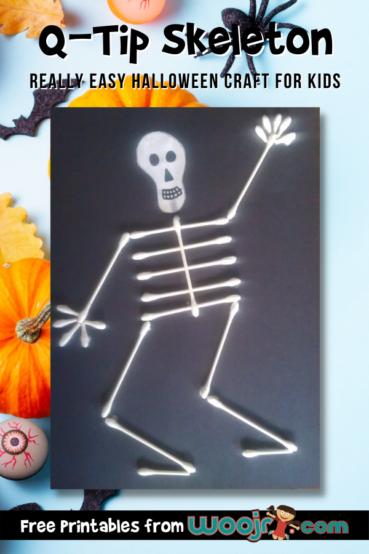 Q-Tip Skeleton Halloween Craft for Kids