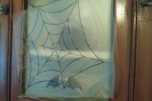 Window Sized Spider Web Craft 300x200 Glitter and Glue Spiderweb Kids Craft for Halloween