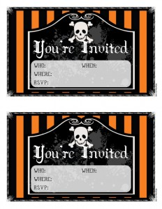Free Orange & Black Printable Halloween Party Invitations