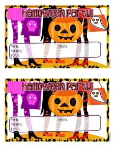 Cute Retro Girly Halloween Party Invitations to Print
