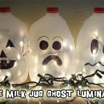 Recycled Craft:  Glowing Ghosts from Plastic Milk Jugs