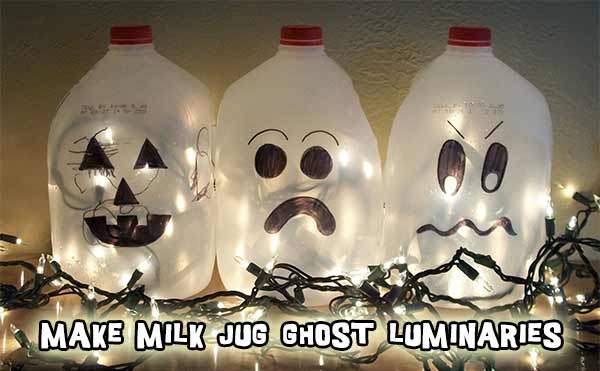 How to make milk jug Halloween ghost luminaries