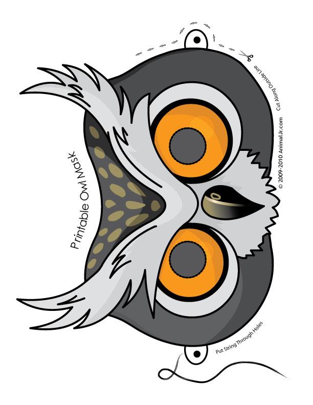 Soft image for printable owl mask