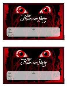 Scary Monster Eyes Halloween Party Invitations to Print