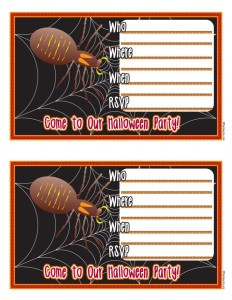 Spooky Spider Printable Halloween Party Invitations