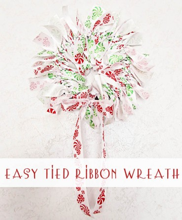 Easy Tied Christmas Ribbon Wreath