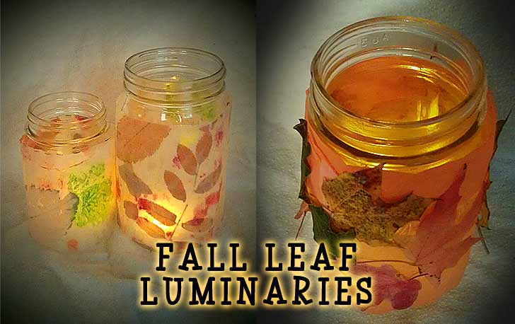 Glowing Waxed Paper or Colorful tissue Paper Fall Leaf Luminaria Craft