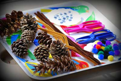 Porcupine pine cone craft supplies