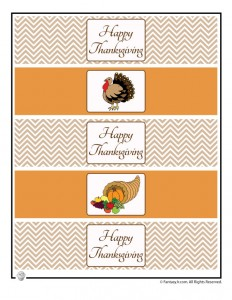 Printable Happy Thanksgiving Water or Soda Bottle Label Wrappers