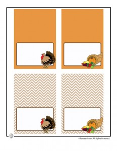 Thanksgiving printable place cards or food tents