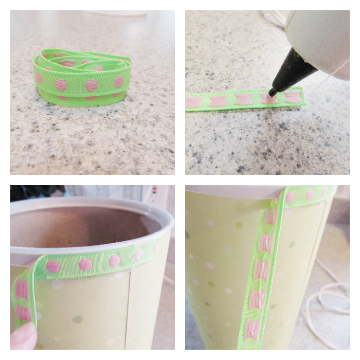 Take a long piece of ribbon and put some hot glue on the end.