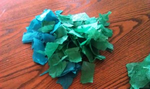 "Rip your green paper into small pieces and make a pile.  This will make the ""pine boughs"" for your Christmas wreath.  Glue the pieces to the paper plate in any arrangement you want.  Just try to cover as much of the white paper plate as possible."