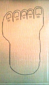 Draw a great big foot onto a piece of cardboard and cut it out.  Flip it over and trace onto another piece of cardboard and cut that out, too.  You will end up with a decently-matched left and right foot.