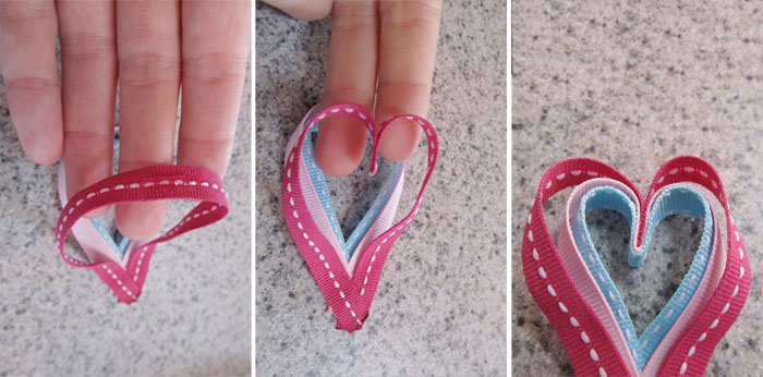 Shape the hearts with a fold at the top