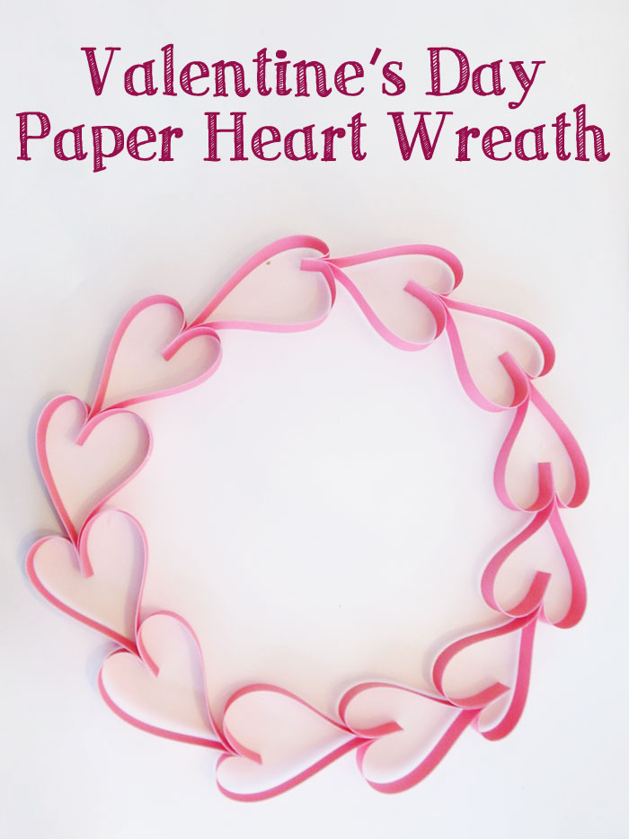 Make an easy and pretty paper heart wreath for Valentine's Day