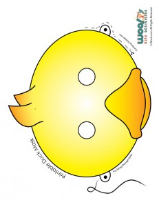 Cute Yellow and Orange Duckling Mask Printable