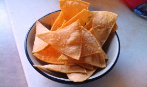 Bake the tortilla chips at 350 degrees for 12 to 15 minutes.