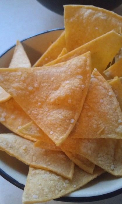 Fresh Baked Tortilla Chips 418x700 How to Make Crunchy Tortilla Chips at Home