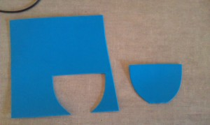 From your craft foam, cut out half an oval that is about two inches high and two inches long. This will be your pirate eye patch.